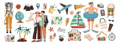Collectie van avontuurlijk toerisme, reizen naar het buitenland, zomervakantie reis, wandelen en backpacken decoratieve designelementen geïsoleerd op een witte achtergrond. Platte cartoon kleurrijke vectorillustratie