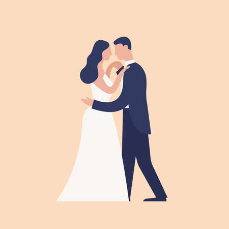 Adorable dancing newlyweds isolated on light background. First dance of cute romantic married couple. Wedding day celebration party or ball. Modern flat cartoon colorful vector illustration