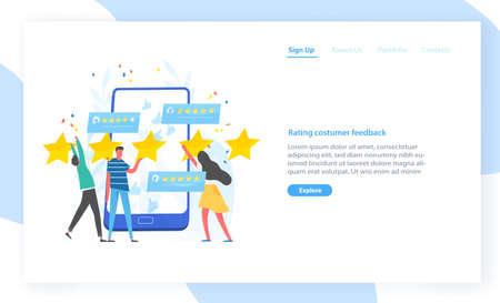 Modèle de site Web avec des personnes laissant cinq étoiles et un smartphone géant. Expérience client, commentaires positifs, examen ou évaluation du service. Illustration plate moderne pour la publicité.