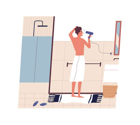 Cute funny young man standing in front of mirror and drying his hair with hairdryer. Happy guy using blow dryer in bathroom. Morning routine, daily procedure. Flat modern cartoon vector illustration