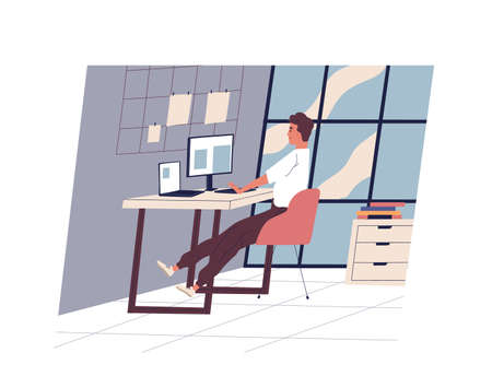 Cute funny man sitting at a desk and working on a computer at modern office. A young professional or male employee in the workplace. Daily routine, everyday life. Flat cartoon colorful illustration. Çizim