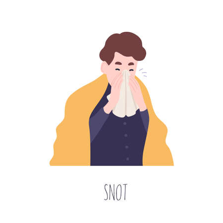 Funny boy blowing his nose or sneezing. Cute young man suffering from fever, rhinitis or coryza. Symptom of common cold, health problem, infectious disease. Flat cartoon colorful vector illustration