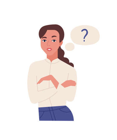 Portrait of cute young thinking woman isolated on white background. Female office worker and thought bubble with question mark. Curious girl solving problem. Flat cartoon colorful vector illustration
