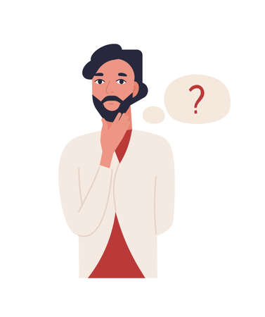 Cute thoughtful bearded man isolated on white background. Funny pensive guy and thought balloon with question mark. Male office worker solving problem. Flat cartoon colorful vector illustration