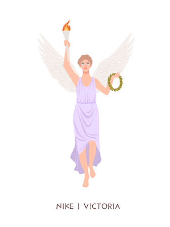 Nike or Victoria - deity or goddess of victory from ancient Greek and Roman religion or mythology. A female mythological character with wings holding torch and wreath. Flat cartoon illustration.