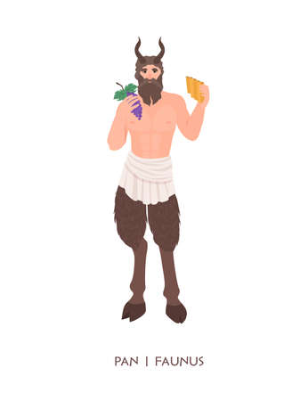 Pan or Faunus - god or deity of shepherds and fertility from ancient Greek and Roman religion. Male mythological creature with horns holding flute and grapes. Flat cartoon illustration.