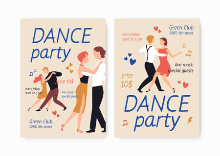 Bundle of flyer or poster templates for choreography school or studio, dance party, show or performance with pairs of elegant men and women dancing tango. Flat cartoon colorful illustration.