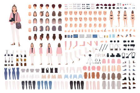 Girl photographer or photo journalist DIY kit or constructor set. Collection of body parts, clothes, accessories. Cute female cartoon character. Front, side, back views. Flat vector illustration