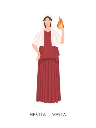 Hestia or Vesta - deity or virgin goddess of hearth, home, domesticity, family from ancient Greek and Roman religion. Female mythological character holding fire. Flat cartoon illustration.