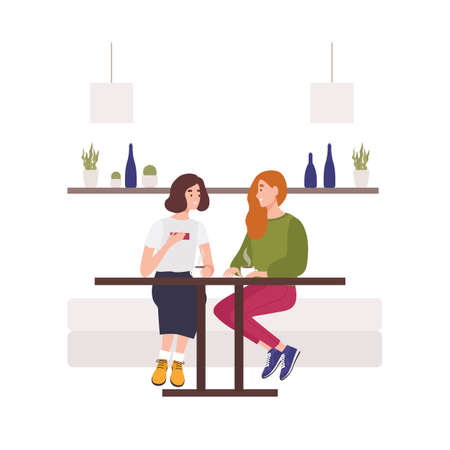 Cute young girls sitting on sofa at cafe, drinking coffee and talking. Two hppy female friends chatting. Funny smiling women spending time together. Flat cartoon colorful vector illustration