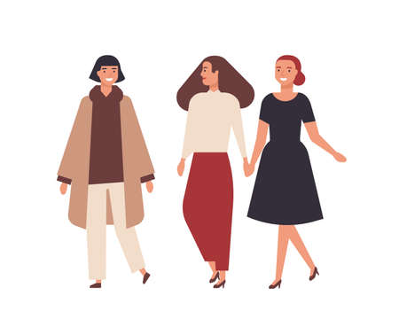 Group of pretty smiling women dressed in elegant clothes isolated on white background. Happy female friends walking together. Portrait of adorable stylish girls. Flat cartoon vector illustration Illustration