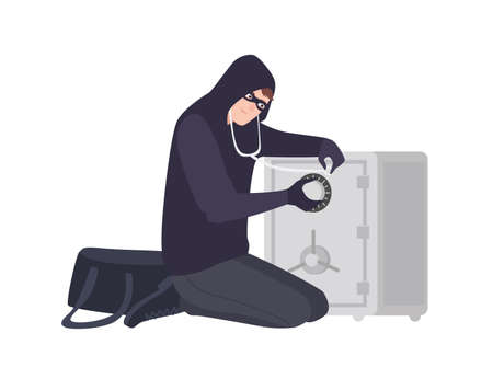 Male burglar wearing mask and hoodie using stethoscope to open safe or strongbox. Theft, burglary or housebreaking. Thief, burglar, criminal or outlaw. Flat cartoon colorful vector illustration