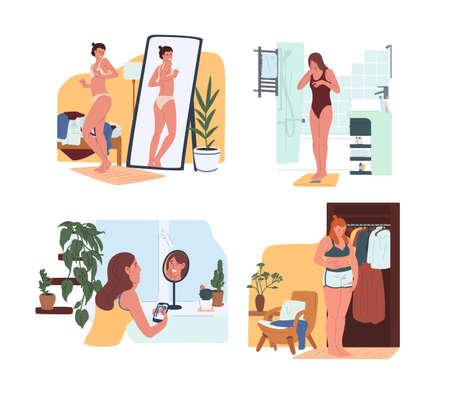 Junge lustige Frauen in Unterwäsche, die im Spiegel schauen und auf Waagen wiegen. Körperabstoßungsproblem, Dysmorphophobie, Selbsthass, Unzufriedenheit mit dem Aussehen. Bunte Vektorillustration der flachen Karikatur
