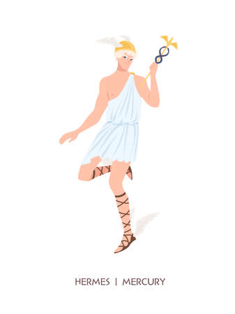 Hermes or Mercury - deity of trade, commerce and merchants of Greek and Roman pantheon, messenger of Olympian gods. Male mythical character wearing winged helmet. Flat cartoon illustration.