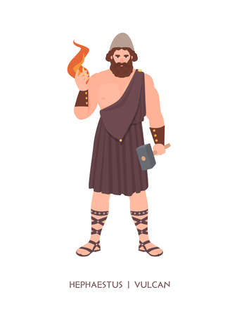 Hephaestus or Vulcan - god or deity of blacksmiths, craftsmen and metalworking of Greek and Roman pantheon. Male mythological character holding fire and hammer. Flat cartoon illustration.