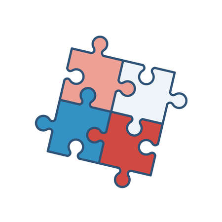 Four interlocked jigsaw puzzle pieces isolated on white background. Artificial intelligence, innovation, smart technology, creative problem solution. Vector illustration in modern linear style Illustration