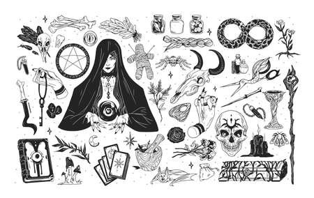 Witchcraft set - witch or enchantress and mystical items for wizardry, enchantment, astrology and clairvoyance hand drawn with black contour lines on white background. Monochrome vector illustration