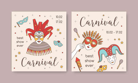 Bundle of square card or party invitation templates with traditional Venetian masks and costumes for carnival, Mardi Gras celebration or masquerade ball. Modern illustration in line art style.