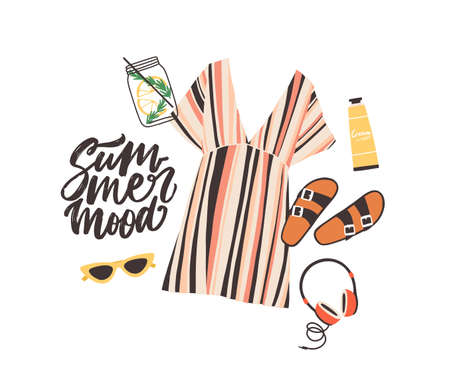 Seasonal composition with Summer Mood slogan and elegant stylish beachwear, sunglasses, cocktail, headphones and sunscreen cream on white background. Flat cartoon colorful vector illustration  イラスト・ベクター素材