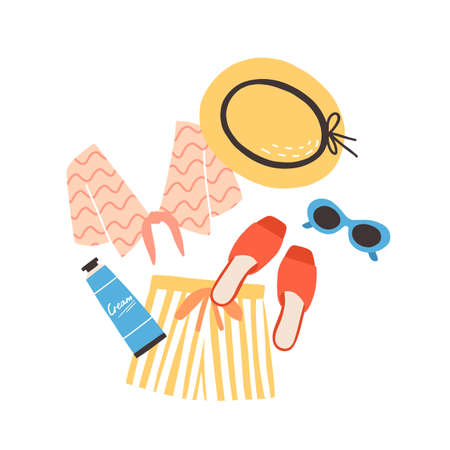 Modern summer composition with beachwear, sunglasses and sunscreen. Elegant stylish seasonal clothes and sunblock cream isolated on white background. Flat cartoon colorful illustration.