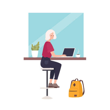 Cute smiling woman sitting at cafe and working on laptop computer. Funny young professional or female freelance worker at coffee shop. Busy girl. Flat modern cartoon colorful illustration.