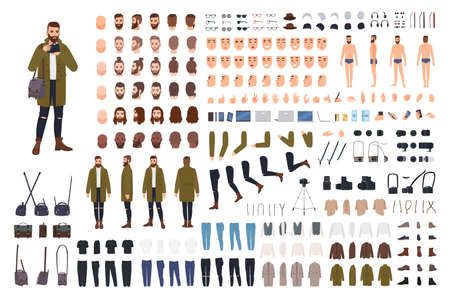 Man photographer or photo journalist creation kit or animation set. Bundle of body parts, clothes, accessories. Male cartoon character. Front, side, back views. Flat colorful vector illustration
