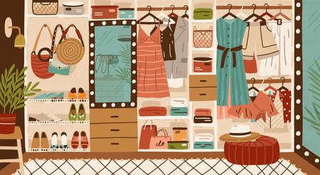 Spazio interno di armadio o guardaroba. Abiti femminili o capi appesi su appendiabiti, porta abiti o binari e distesi su scaffali. Organizzazione o stoccaggio dell'abbigliamento. Illustrazione vettoriale colorato piatto del fumetto