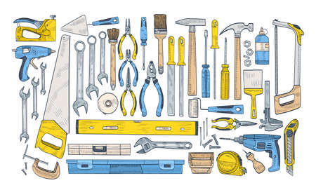 Bundle of manual and powered tools for handcraft and woodworking. Set of equipment for home repair and maintenance isolated on white background. Colorful hand drawn realistic vector illustration