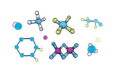 Collection of various molecules with atoms and chemical bonds isolated on white background. Bundle of molecular formulas or structures, schematic models. Hand drawn realistic vector illustration