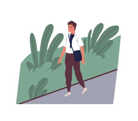 일하러 가는 귀여운 웃는 청년. 도시 거리를 걷는 행복한 남성 캐릭터. 점원이나 회사원의 아침 활동. 하루의 시작. 평면 만화 스타일의 다채로운 벡터 일러스트 레이 션