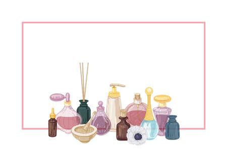 Sfondo orizzontale decorato da profumo e cosmetici in boccette di vetro, bastoncini di incenso, mortaio e pestello. Illustrazione vettoriale disegnata a mano in stile vintage per la pubblicità di prodotti profumati Vettoriali