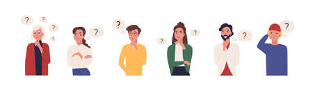 Collection of portraits of thoughtful people. Bundle of smart men and women thinking or solving problem. Set of pensive boys and girls surrounded by thought bubbles. Flat cartoon vector illustration