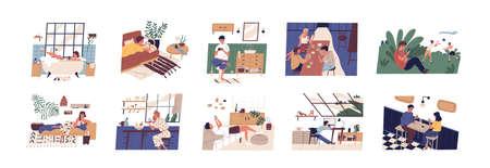 Kolekcja scen z osobami korzystającymi ze smartfonów w domu, biurze lub w plenerze. Mężczyźni i kobiety z telefonami komórkowymi podczas pracy, spotkania z przyjaciółmi lub randki. Płaska ilustracja kolorowy wektor kreskówka Ilustracje wektorowe