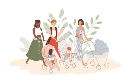 Group of cute women with babies in prams and strollers. Moms walking with their infant children. Community of young mothers. Motherhood and maternity. Flat cartoon colorful vector illustration Ilustração