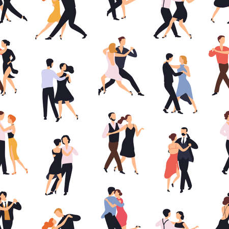 Seamless pattern with elegant couples dancing tango or milonga on white background. Backdrop with pairs of people performing dance. Flat cartoon vector illustration for textile print, wallpaper