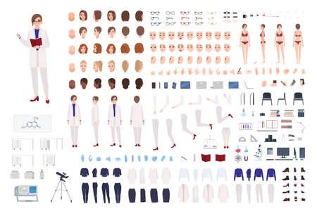 Wissenschaftlerin oder wissenschaftlicher Laborarbeiter Konstruktor-Set oder DIY-Kit. Bündel weiblicher Körperteile, Laborkleidung und Ausrüstung isoliert auf weißem Hintergrund. Flache Cartoon-Vektor-Illustration