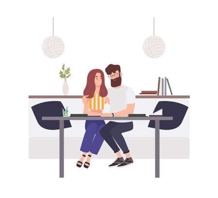 Lovely couple sitting at cafe table and embracing each other. Happy boyfriend and girlfriend. Young man and woman in love. Cute funny boy and girl on romantic date. Flat cartoon vector illustration