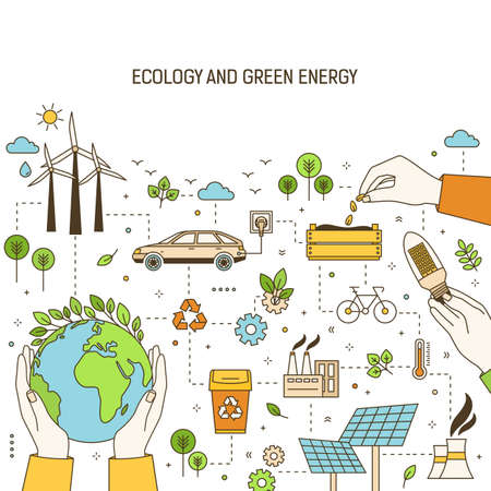 Square banner template with hands holding planet, lightbulb and seeds surrounded by wind and solar power plants, electric car. Green energy, electricity generation. Modern linear vector illustration