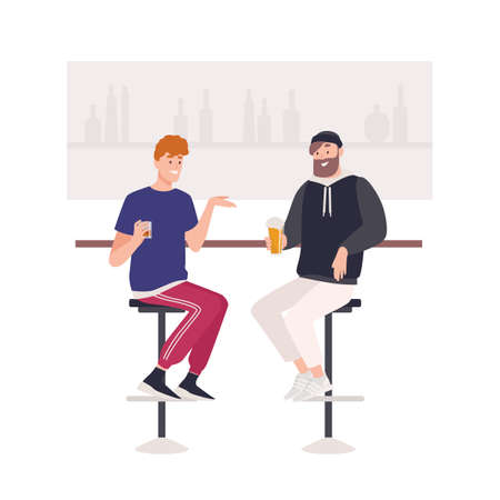 Pair of happy friends sitting on stools at bar counter and drinking beer or alcoholic beverages. Two cute funny smiling young men in pub. Friendly meeting. Flat cartoon colorful vector illustration