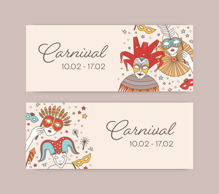 Set of horizontal web banner templates with traditional Venetian masks, cap and bells and costumes for carnival, Mardi Gras celebration or masquerade ball. Illustration in line art style.