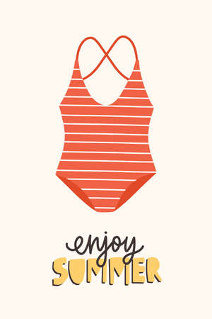 Modern seasonal composition with Enjoy Summer phrase handwritten with elegant calligraphic font and swimsuit or swimwear. Flat cartoon colorful illustration for t-shirt or sweatshirt print. Illustration
