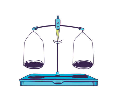 Weighing scale or mass balance with two plates in equilibrium isolated on white background. Laboratory equipment or lab tool for measuring weight. Realistic vector illustration in vintage style Ilustração