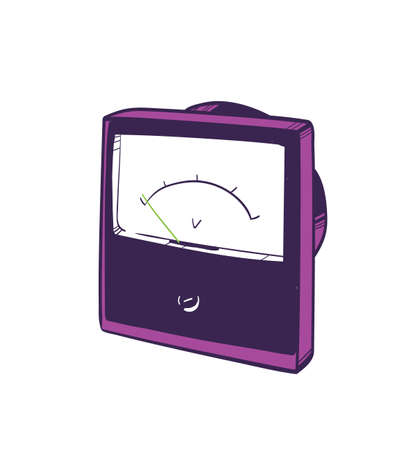 Analog voltmeter hand drawn on white background. Instrument used for measuring electrical potential difference. Equipment of physics laboratory for scientific research. Realistic vector illustration