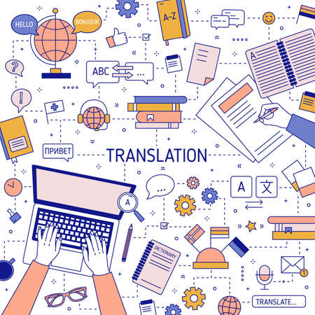Square banner template with hands of translators typing on laptop keyboard and writing on paper. Translation of foreign languages and international communication. Illustration in linear style.