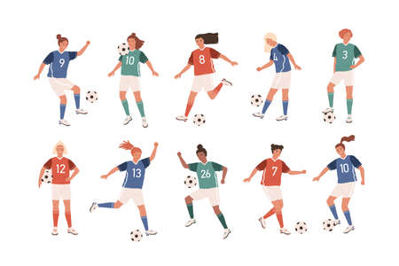 Collection of funny female football players isolated on white background. Bundle of cute happy women playing soccer. Set of teenage girls kicking ball. Flat cartoon colorful vector illustration