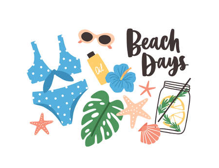 Stylish summer composition with Beach Days phrase handwritten with cursive calligraphic font, swimsuit, tropical leaves and flowers, cocktail, sunglasses. Flat cartoon colorful vector illustration  イラスト・ベクター素材
