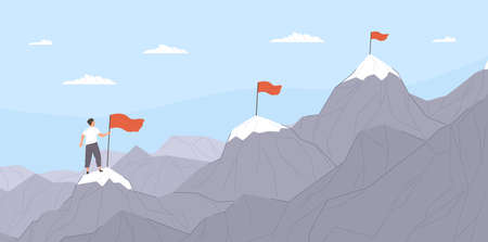 Office worker climbing up mountains or cliffs and moving to final destination point. Concept of gradual business development, successive steps to goal achievement. Flat cartoon illustration.