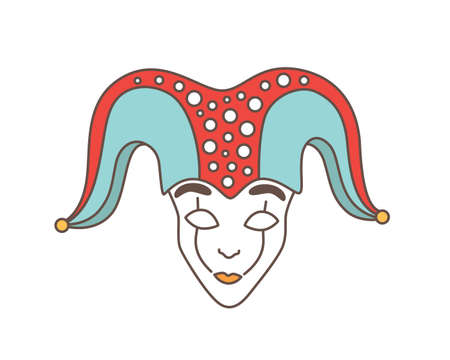 Festive mask of jester, harlequin, trickster, buffoon or droll isolated on white background. Traditional decoration for Venetian carnival, Mardi Gras masquerade. Vector illustration in line art style