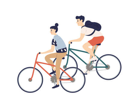 Cute romantic couple riding bicycles. Young man and woman on bikes isolated on white background. Boy and girl performing sports outdoor activity. Colorful vector illustration in flat cartoon style