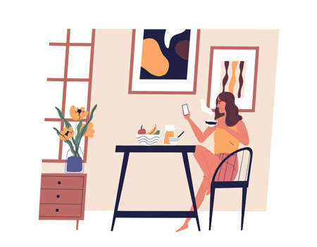 Cute girl sitting at table, using smartphone and drinking coffee. Young happy woman dining at home. Funny lady having lunch. Daily activity, everyday life. Vector illustration in flat cartoon style
